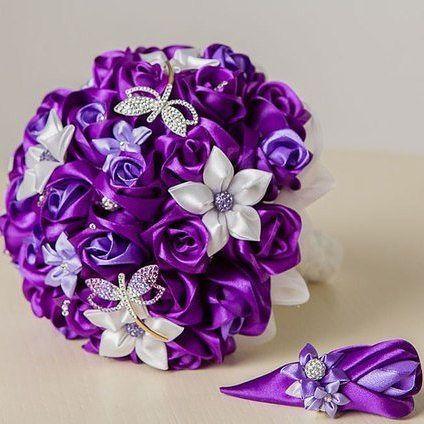 букет цветов из лент своими руками