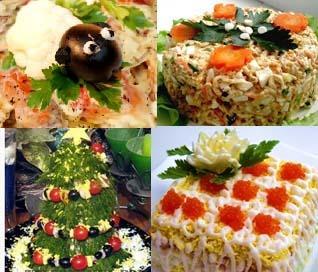 Украшение новогоднего салата в год козы