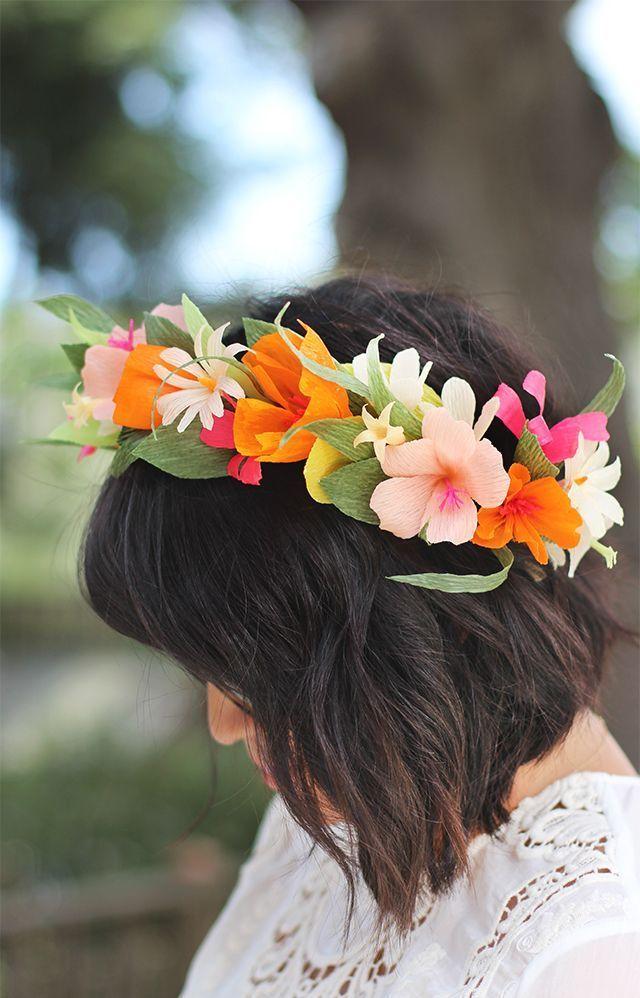 Как сделать цветок на голову из бумаги для детей 108