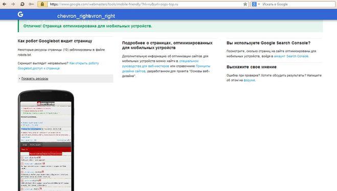 Анализ наличия мобильной версии сайта и ее внешний вид