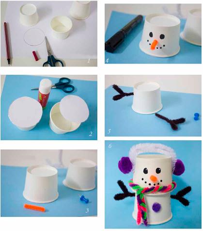 снеговик из бумажных стаканчиков мастер-класс