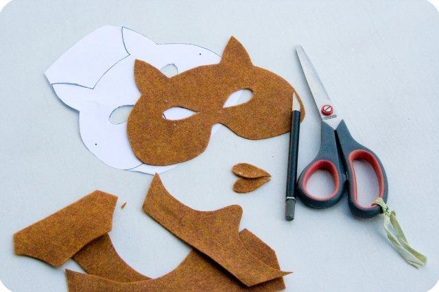 маска лисы своими руками, маска лисы из фетра