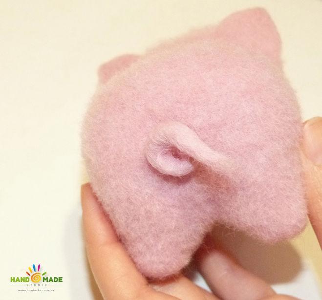 поделка свинка своими руками, как свалять свинку из шерсти, Как сделать свинку поэтапно