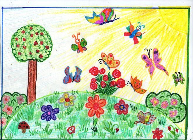 Как нарисовать луг с цветами