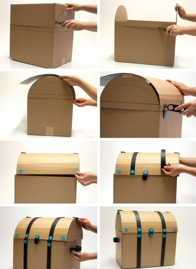 Как сделать сундук из коробки как сделать сундук из коробки своими руками