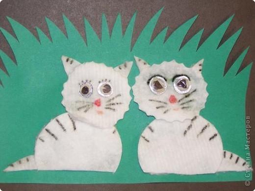 Поделки из ватных дисков кошка 95