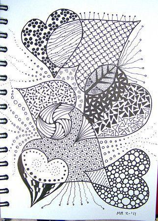 рисунок сердце в стиле дудлинг