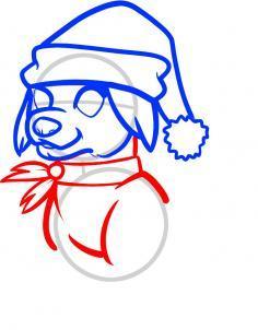 рисунок собака на Новый год поэтапно
