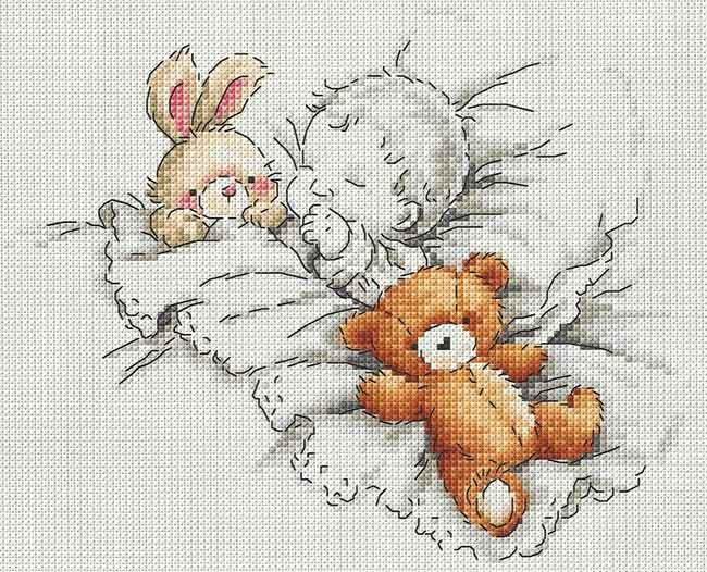Вышивка крестом для детей мишка