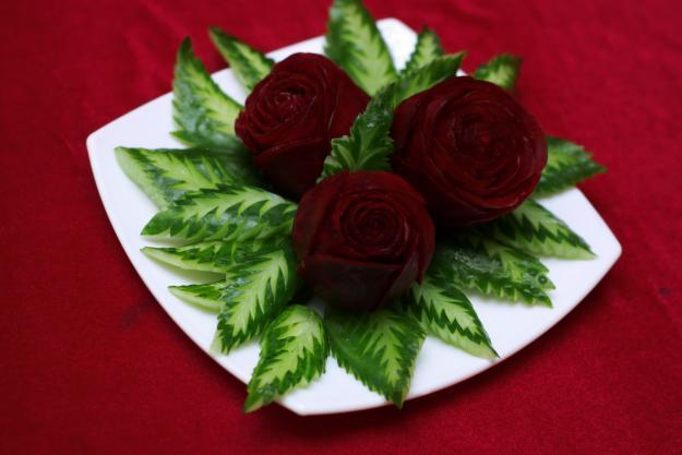 Как сделать розы из фруктов и овощей