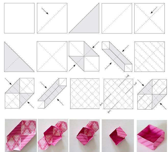 Как из бумаги сделать коробку без клея