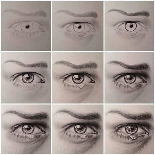 рисунок глаз со слезой