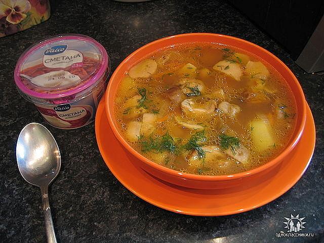 суп из замороженных рыжиков рецепт с фото