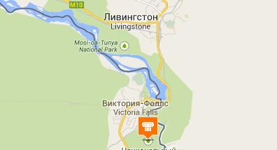 Где на карте находится водопад виктория