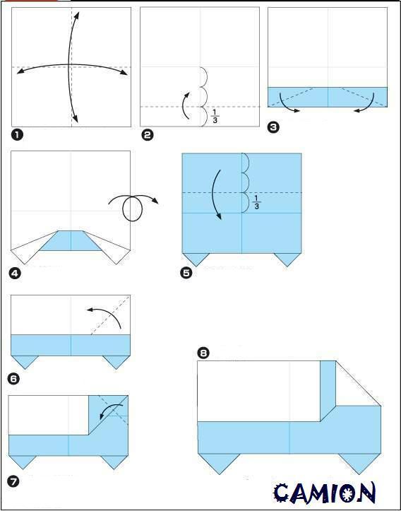 Оригами грузовика из бумаги