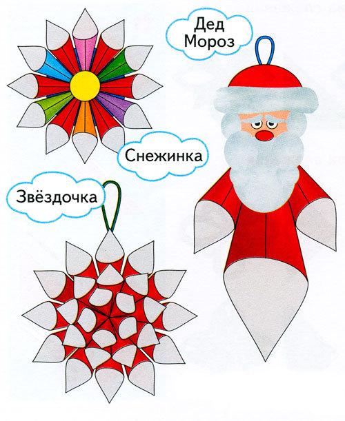 Новогодние игрушки из кулечков Дед Мороз, Снеговик, шары, как сделать?
