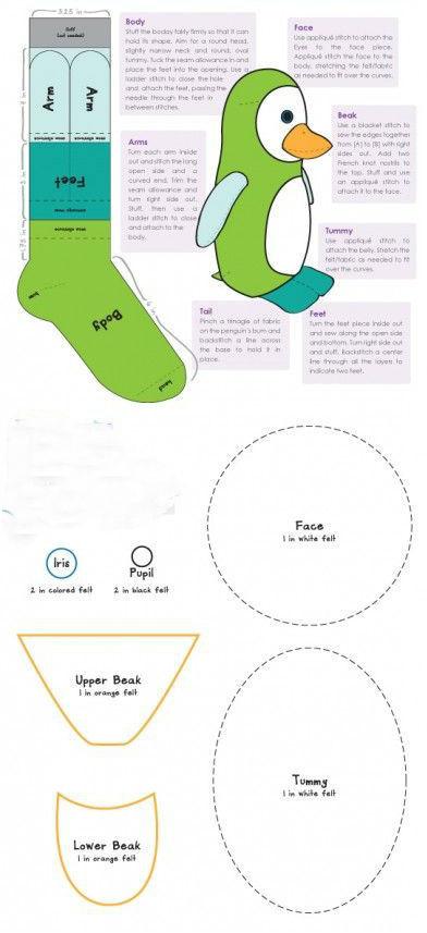 Как сделать/сшить пингвина из носка?