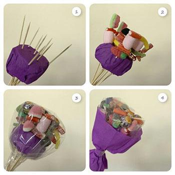 съедобный букет из сладостей своими руками мастер-класс