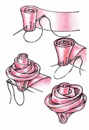 Как сделать розочку из ленты атласной ленты