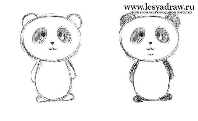 как нарисовать панду пошагово