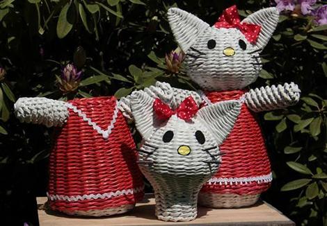 Hello Kitty из газетных трубочек