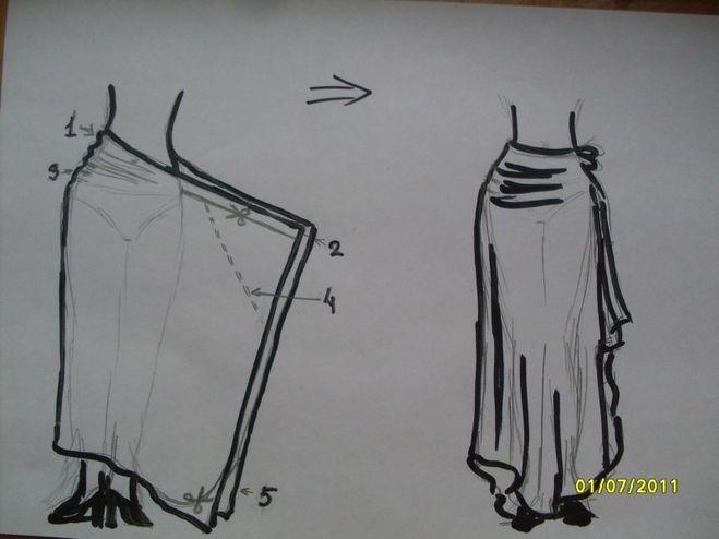 Как сшить длинную юбку с одним швом