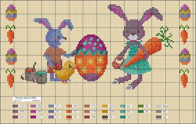 Вышивка зайцы примитивы 22