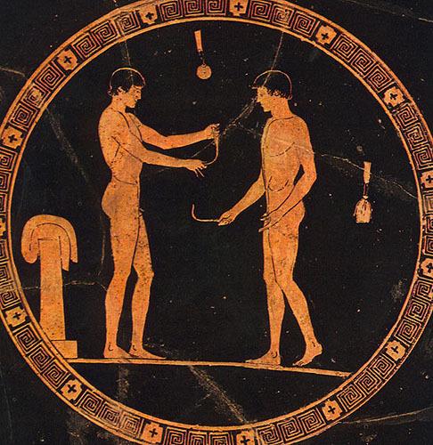 текст при наведении - античная ваза, роспись