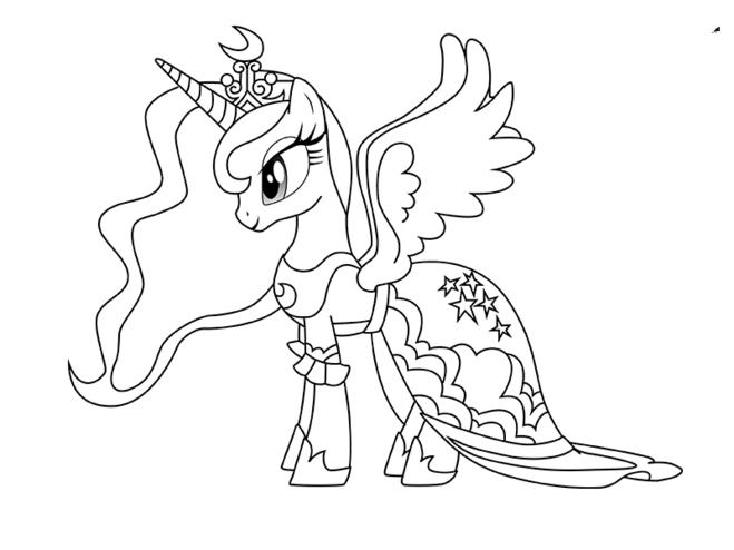Раскраска единорог принцесса