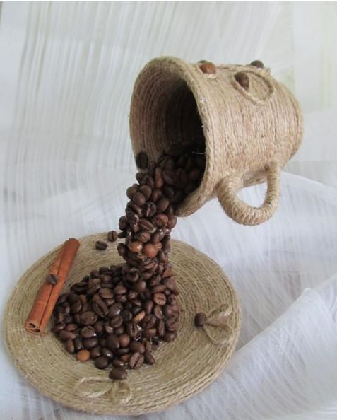 Топиарий в чашке из кофейных зерен своими руками