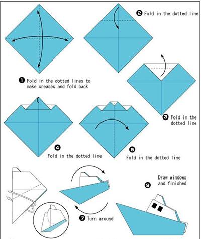 кораблик в технике оригами схема