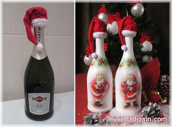 Шапка на бутылку шампанского своими руками 57