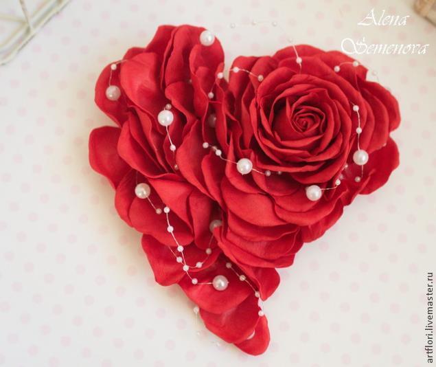 Валентинка из фоамирана в виде розы своими руками