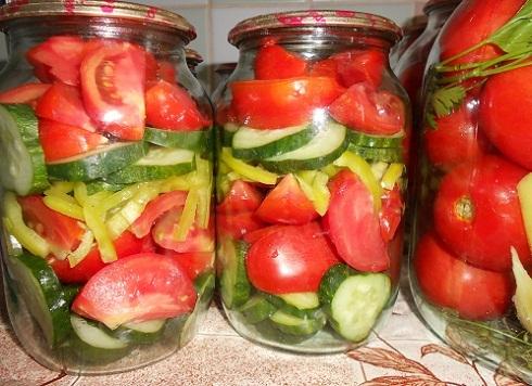 Салат из огурцов и помидор на зиму без стерилизации рецепты