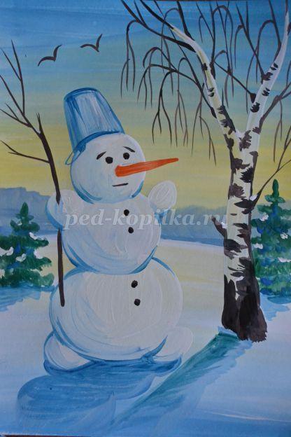 Как нарисовать снеговика поэтапно мастер-класс для детей 4-6 лет