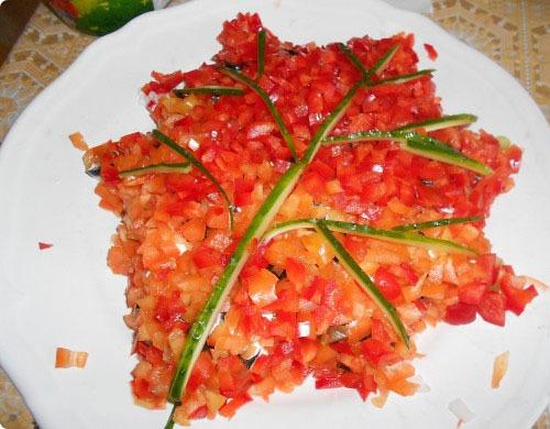 осенний салат в виде листа рецепт