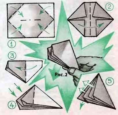 оригами бомбочка водяная-схема