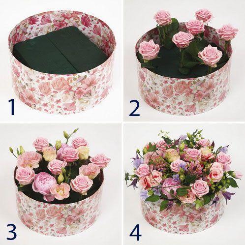 Как самому сделать коробку с цветами