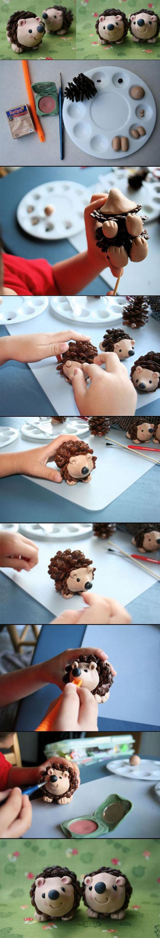 поделки из шишек своими руками фото схемы ежика