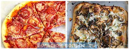 выбор пиццы с салями и сыром или грибной