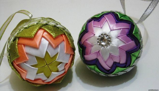 Цветочные шары из лент