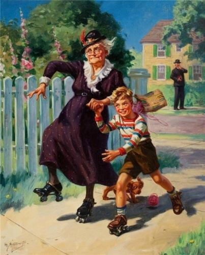 С бабушкой на роликах