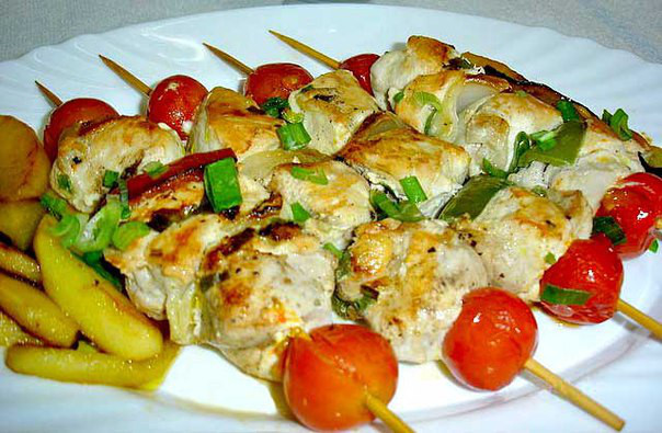 Овощи в духовке на шпажках рецепт с фото