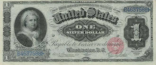 1 американский доллар 1886 года. На лицевой стороне портрет Марты Вашингтон.