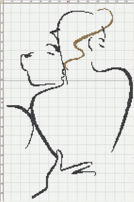 Монохромная вышивка крестом схемы мужчина и женщина 97