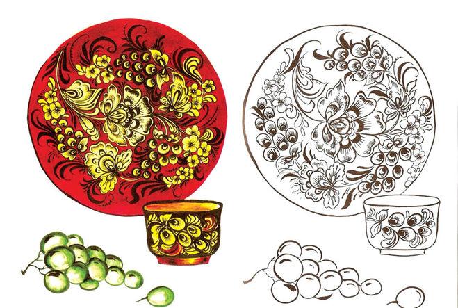 хохломская роспись схемы