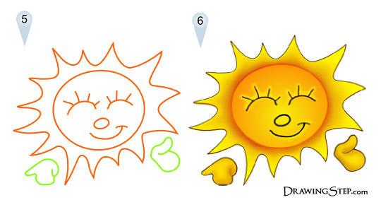 Как нарисовать солнце карандашами поэтапно с помощью фото-схемы?
