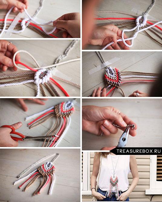 Как сделать на шею из ниток