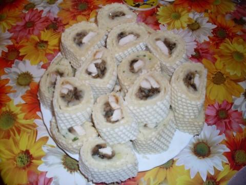 Закуска на вафельных коржах рецепт пошагово
