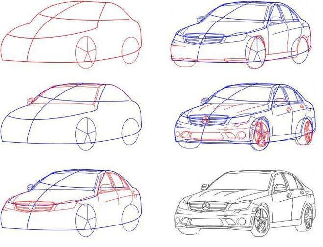 как нарисовать машину мерседес s65
